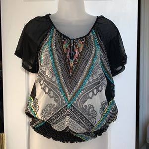 2 Piece Sheer Colorful Top NWOT